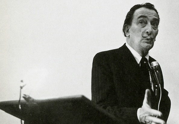 salvador dali giving a lecture
