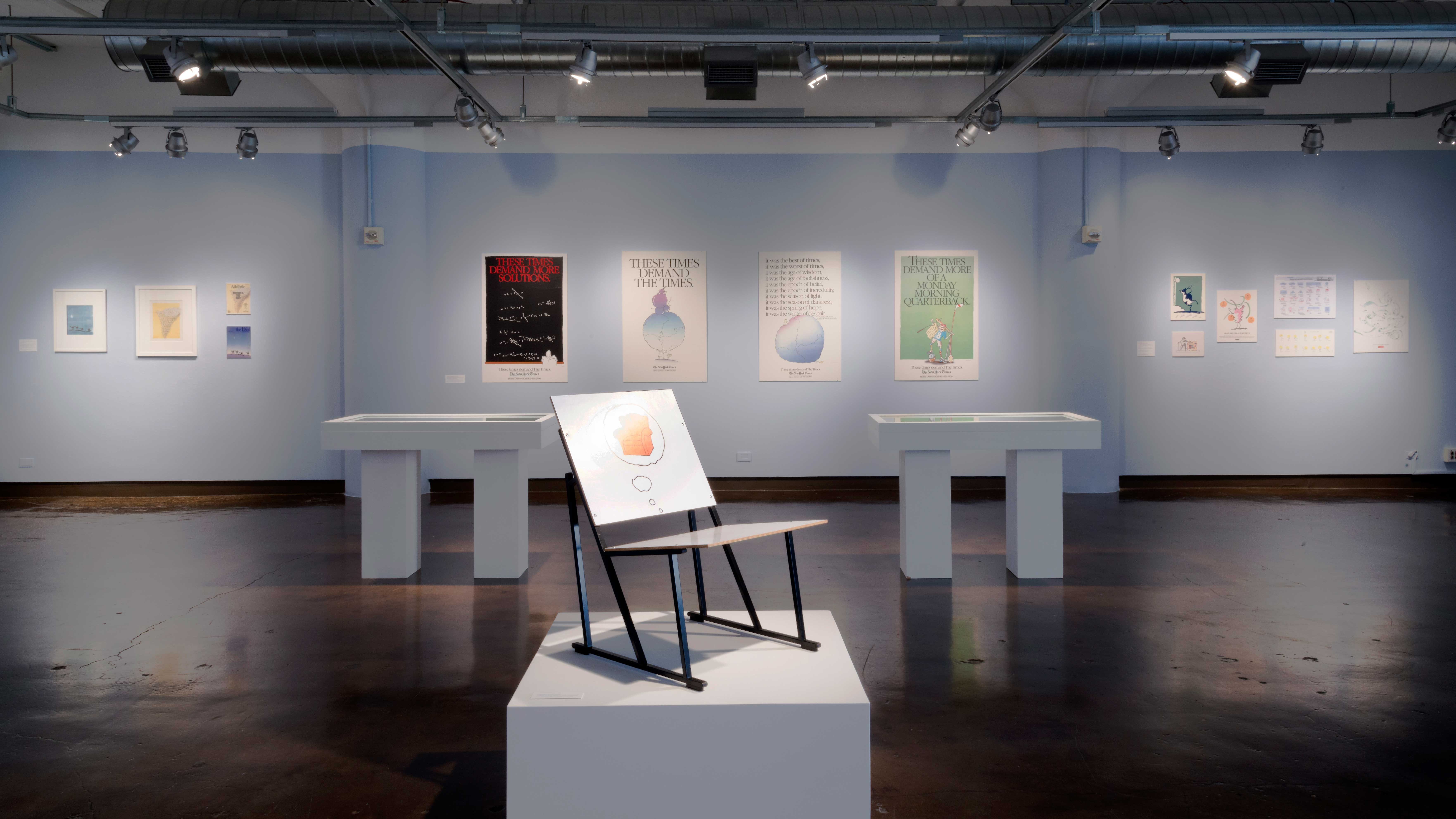 Gallery view of a graphic design exhibition.