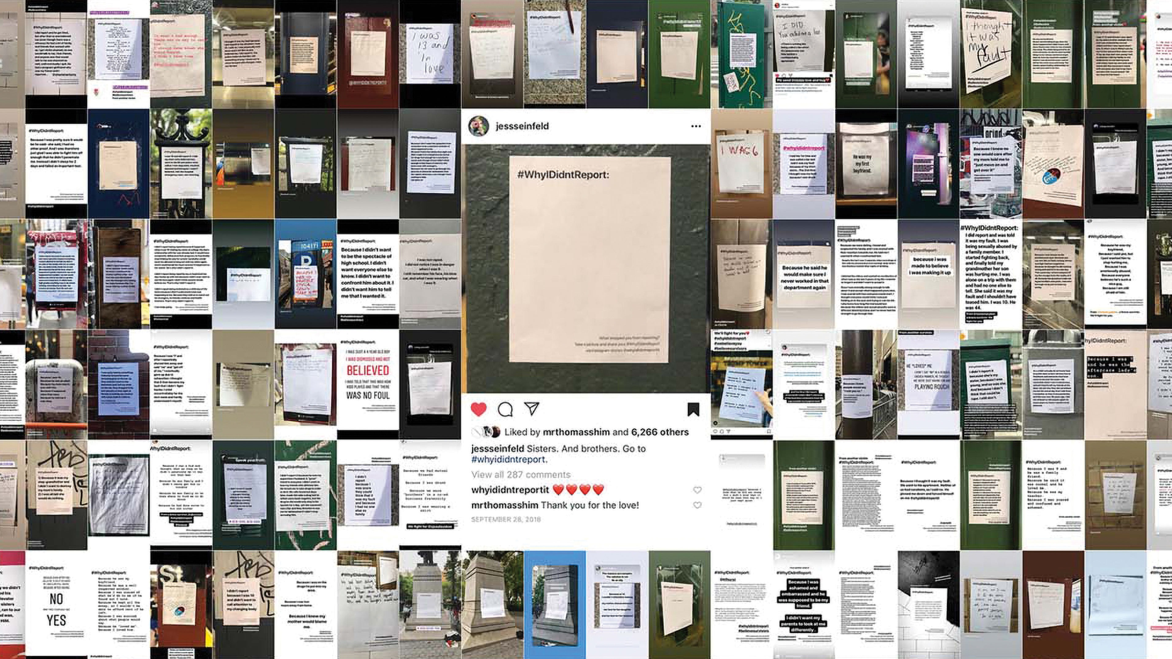 A dense collage of the #whyididntreportit posters
