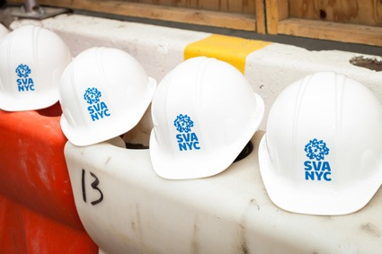 hard hats with sva logo